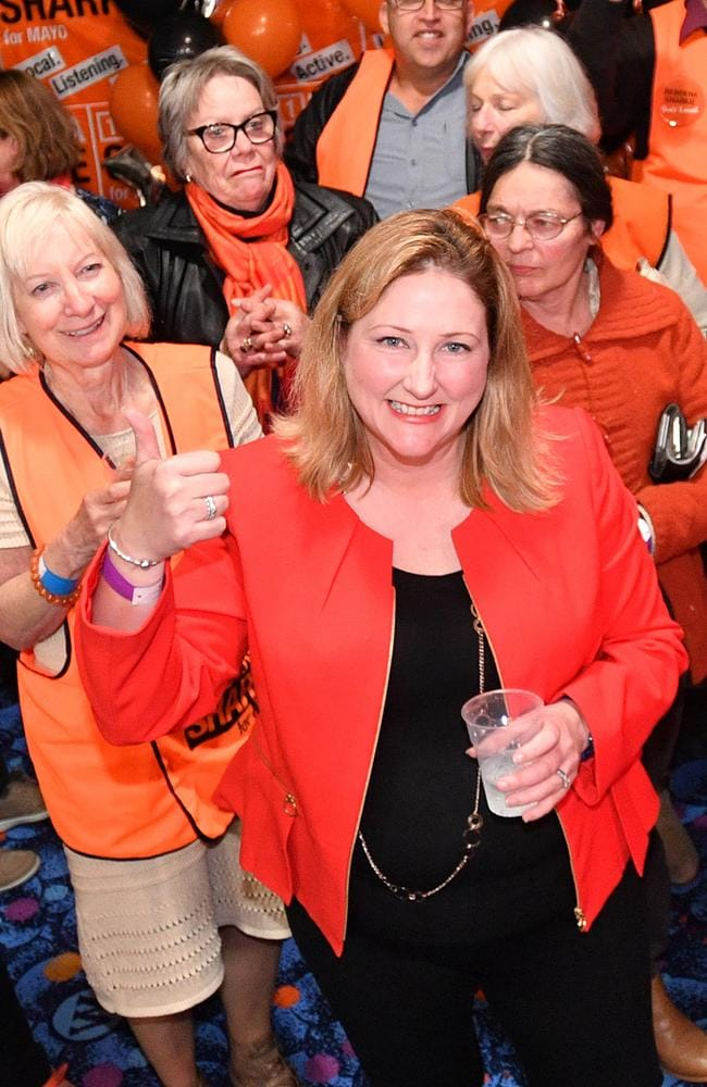 Centre Alliance candidate for Mayo, Rebekha Sharkie, with supporters at the Mt Barker Wallis theatre in Adelaide, South Australia. Picture: David Mariuz