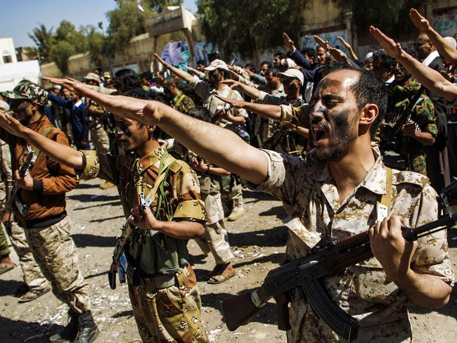 Newly recruited Houthi fighters chant slogans during a gathering in the capital Sanaa to mobilize more fighters to battlefronts to fight pro-government forces in several Yemeni cities. Picture: AFP