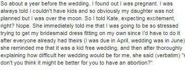 According to the post in a wedding shaming group, the bride asked the expectant friend to have an abortion.