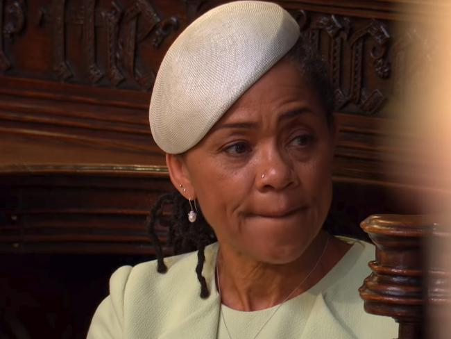 Meghan's mother Doria Ragland was the only member of the bride's family at the wedding. Picture: BBC