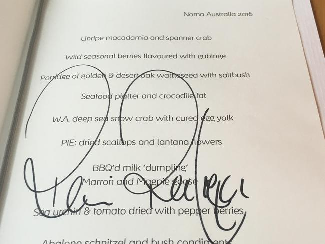 Noma recipe signed by the head chef.