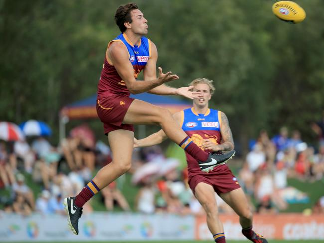 Lions Marco Paparone marks strongly against the Suns. Picture: Tim Marsdei.