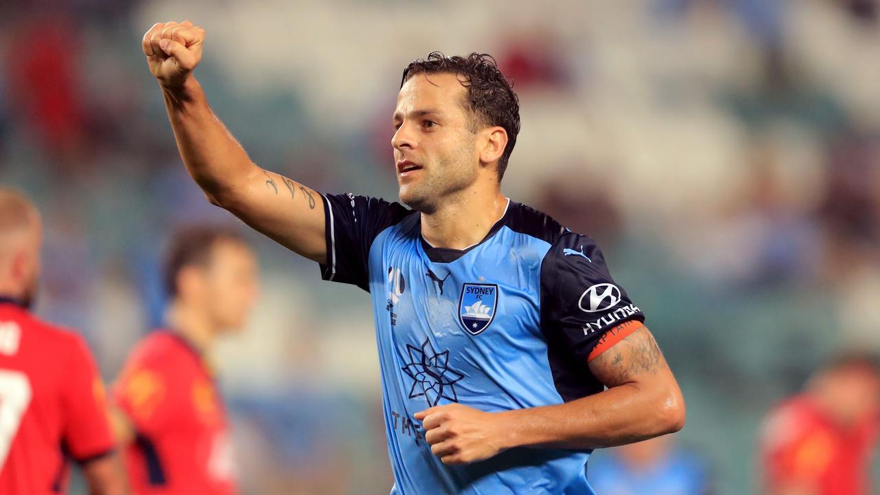 Bobo celebrates his second goal against Adelaide United.