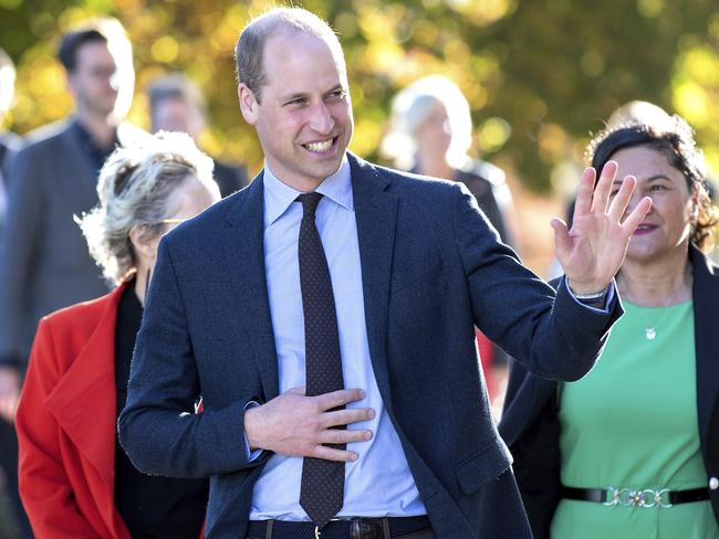 Prince William waves to bystanders after placing a wreath at the Oi Manawa Canterbury Earthquake National Memorial in Christchurch. Picture: AP