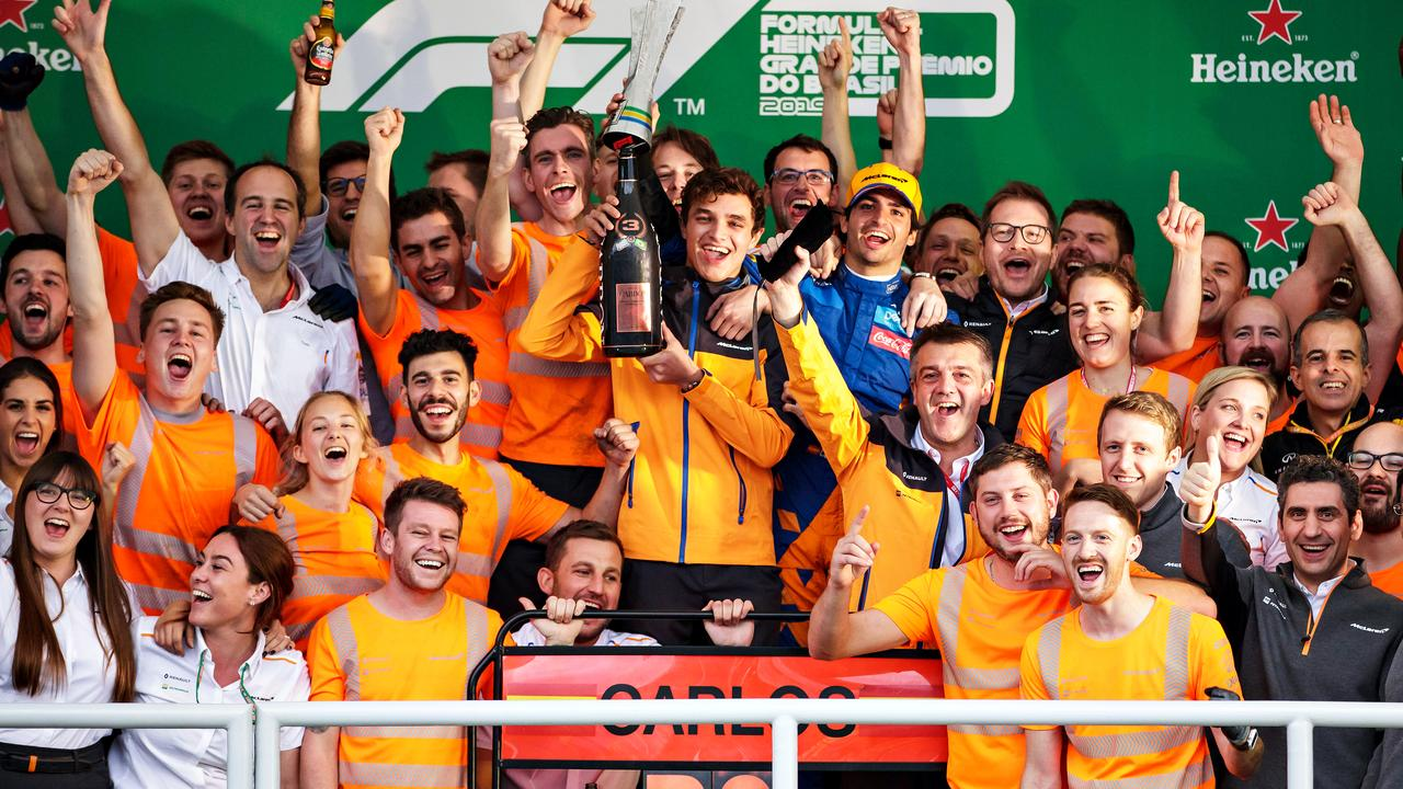 Party time for Sainz and McLaren in Brazil.