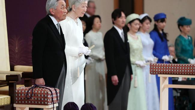 Japan's Emperor Akihito, Empress Michiko and other members of the royal families attend the abdication ceremony at the Matsu-no-Ma state room in the Imperial Palace in Tokyo. Picture: STR / Japan Pool / AFP
