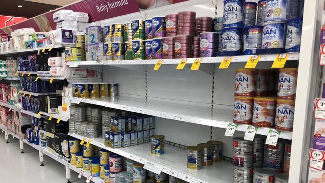 Supermarkets have been forced to implement a two-tin limit for baby formula.
