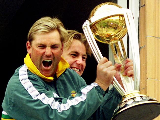 Shane Warne, seen here at Lords in 1999, can also celebrate his status as a celebrity bogan.