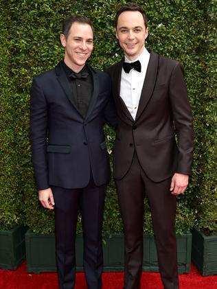 Todd Spiewak and Jim Parsons arrives at the 66th Primetime Emmy Awards.
