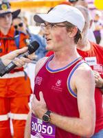 5km race winner Callum Davies. (AAP Image/Richard Walker)