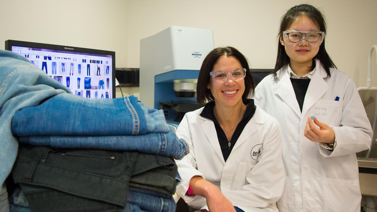 Deakin researchers Dr Nolene Byrne and Beini Zeng in the Institute for Frontier Materials laboratory with a sample of their denim-based aerogel. Picture: supplied