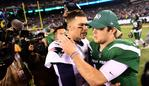 EAST RUTHERFORD, NEW JERSEY - OCTOBER 21: Tom Brady #12 of the New England Patriots and Sam Darnold #14 of the New York Jets talk after their game at MetLife Stadium on October 21, 2019 in East Rutherford, New Jersey. The New England Patriots won 33-0. Emilee Chinn/Getty Images/AFP == FOR NEWSPAPERS, INTERNET, TELCOS & TELEVISION USE ONLY ==