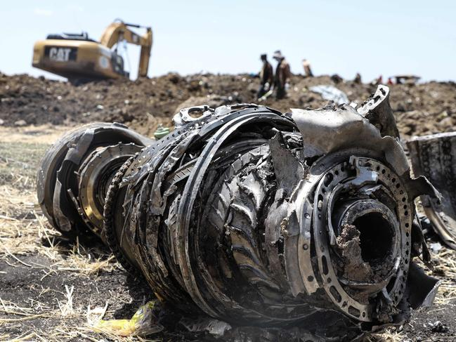 A photo shows debris of the crashed aeroplane of Ethiopia Airlines. Picture: Michael Tewelde/ AFP)