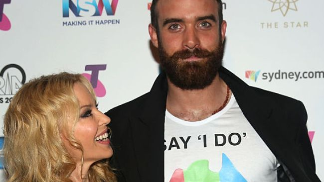 Kylie Minogue and Joshua Sasse at ARIA Awards 2016, November 23, 2016 in Sydney. Photo: Cole Bennetts/Getty Images.