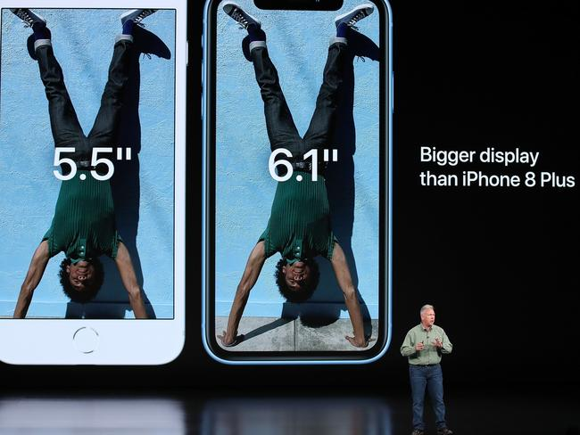 Phil Schiller, senior vice president of worldwide marketing at Apple Inc., introduced the latest versions of the iPhone in Cupertino, California. Picture: Justin Sullivan/Getty Images/AFP