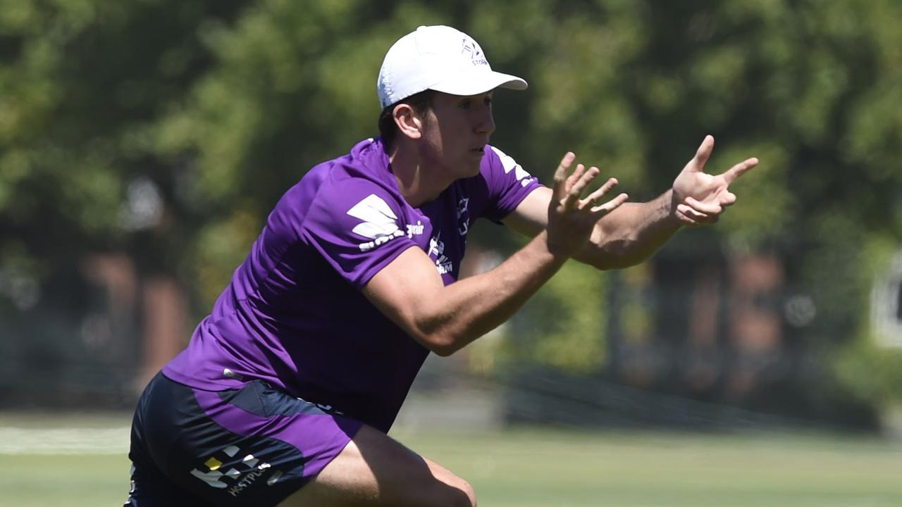 Cooper Johns, son of Matty, training with the Storm in Melbourne.