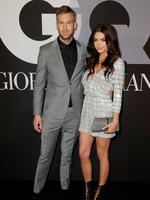 Calvin Harris and model Aarika Wolf attend GQ and Giorgio Armani Grammys after-party. Picture: Getty