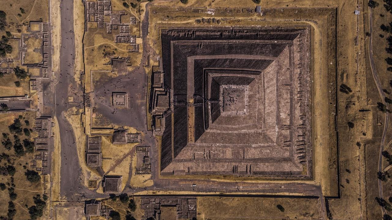 """Geometry of the sun"" won second place in the Cities section. The photo is of the remains of an ancient Mexican city called Teotihuacan, which means ""the place where the gods were created"". Picture: Enrico Pescantini"