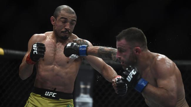 Volkanovski earned his No.1 contender spot after beating MMA legend Jose Aldo. Picture: AFP