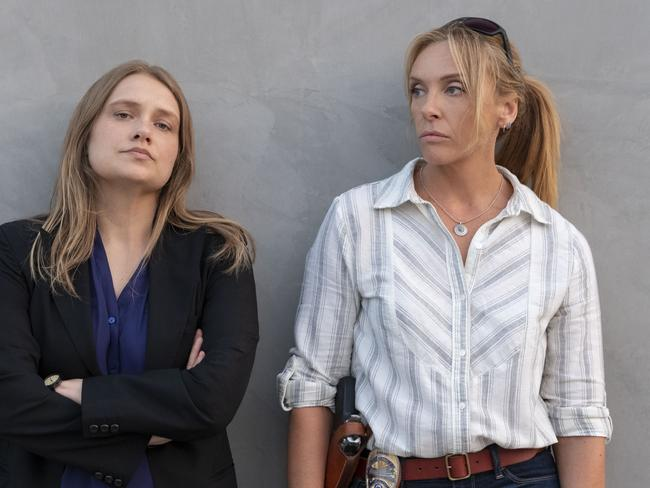 Both Merritt Wever, left, and Toni Collette were nominated for the stellar true crime series Unbelievable. Picture: Netflix via AP