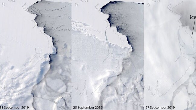 The iceberg separated from the Amery shelf over the weekend.
