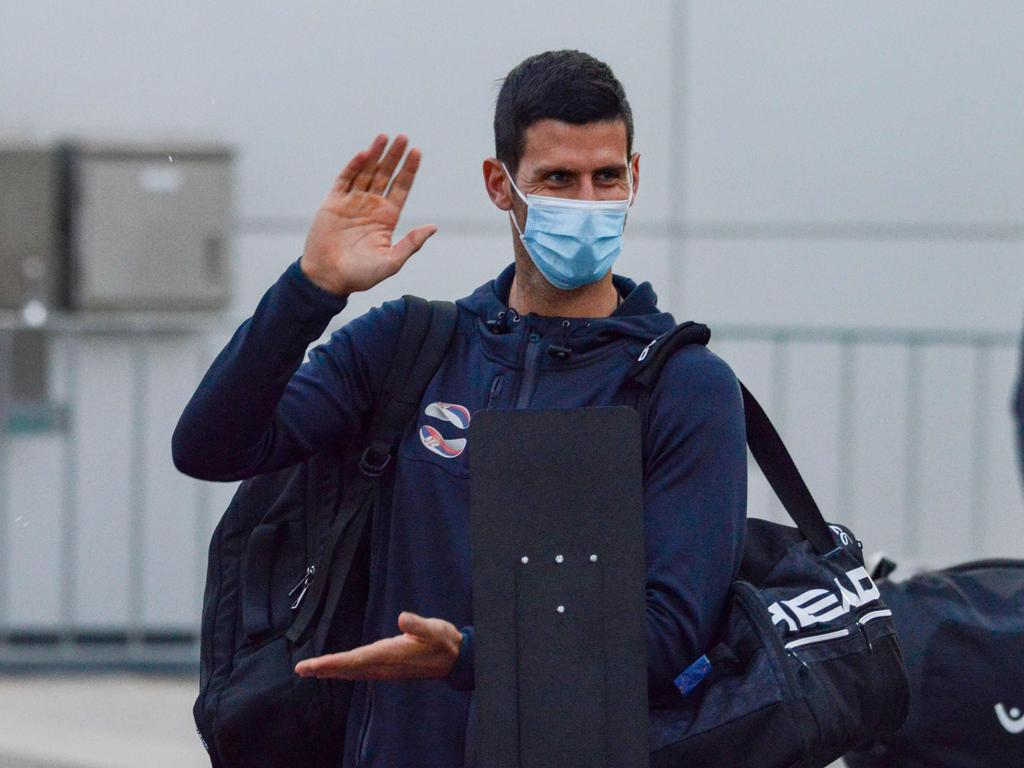 Djokovic as he arrived in Australia.