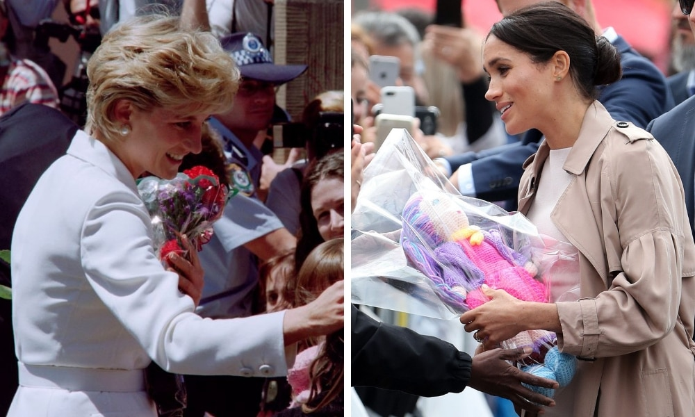 <b>Graciously accepting gifts</b>  <p>While we know that the royals do not keep any of the generous or thoughtful gifts given to them by fans due to royal policy enforced by Kensington Palace, that has not stopped Meghan graciously accepting every present offered to her by fans, often stopping to pick up the ones that had been thrown towards her from the back of the crowd. Princess Diana similarly always gave fans the same courtesy and was often seen with arms full of gifts and flowers. </p>  <i><p>Source: Getty Images</p></i>