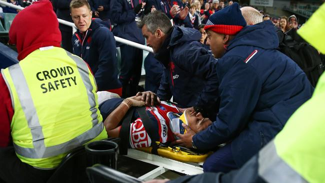 Latrell Mitchell should be available for Game II after suffering neck scare. Pic: AAP Image/Brendon Thorne
