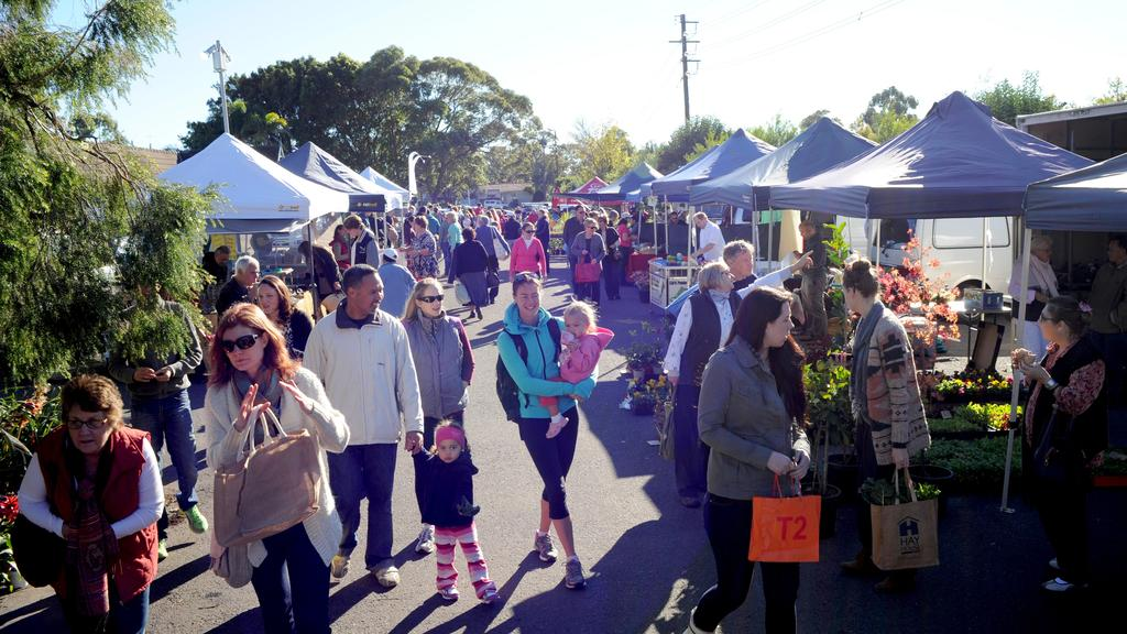 Crowds at Frenchs Forest Organic Markets.