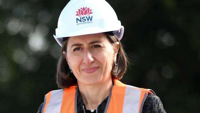 NSW Premier Gladys Berejiklian inspects progress on the Sydney Light Rail project.