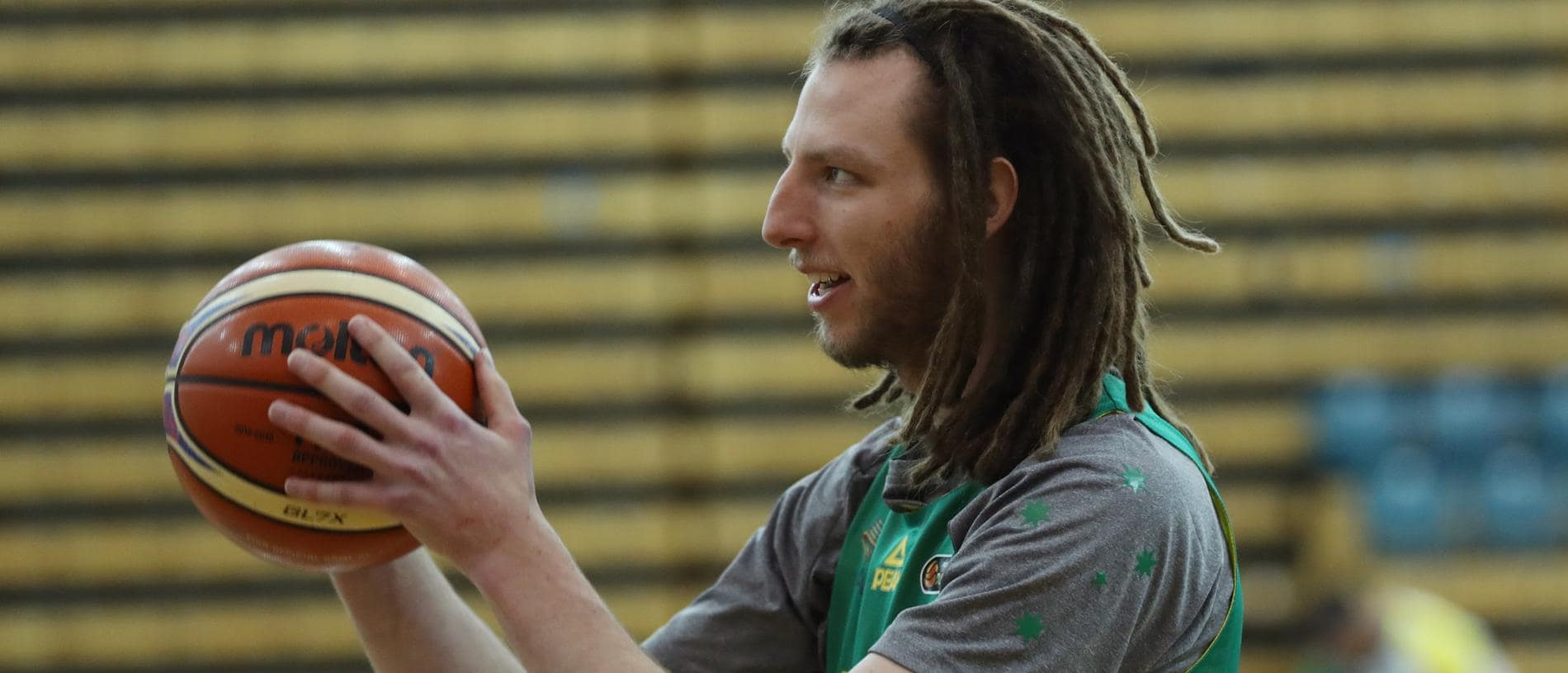 Craig Moller at Australian men's Boomers basketball squad is seen during a training session ahead of the World Cup qualifiers in Melbourne, Wednesday, November 28, 2018. The Boomers will play against Iran on Friday. (AAP Image/David Crosling) NO ARCHIVING