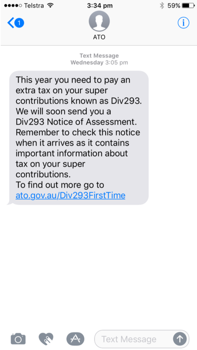 Another fake: If the ATO wants your money, they aren't going to text you about it. Supplied by Sophos
