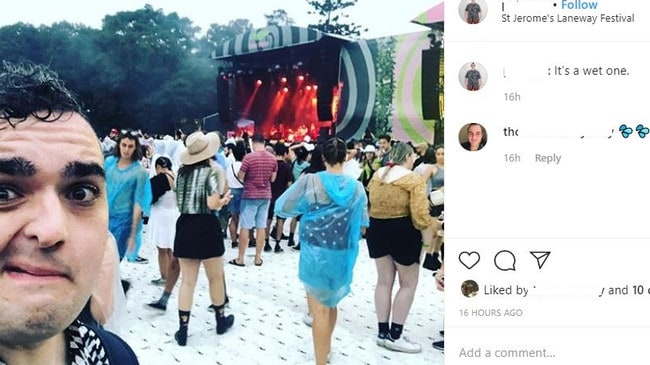 Numerous festival goers shared photos of themselves drenched after showers on Sunday.