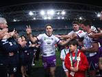 Billy Slater leaves the field for last time during the 2018 NRL Grand Final between the Sydney Roosters and Melbourne Storm at ANZ Stadium. Picture. Phil Hillyard