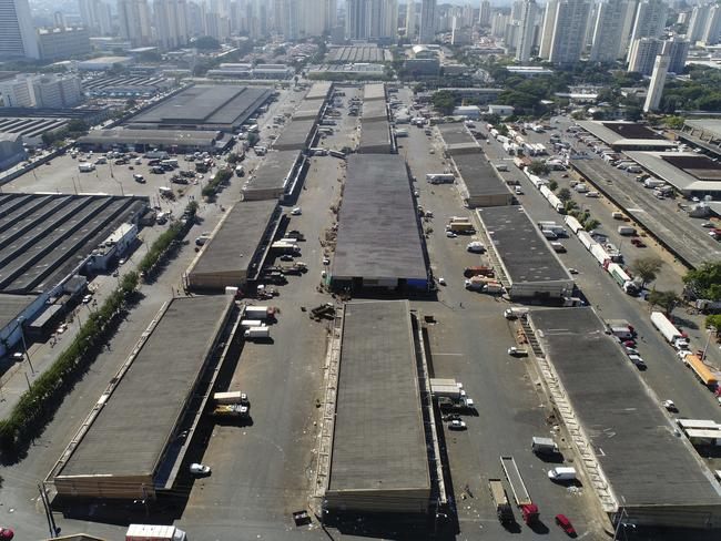 Trucks sit idle at the largest food market in Latin America, in Sao Paulo, Brazil. Picture: Andre Penner