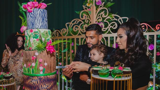 British boxer Amir Khan, 30 and his influencer wife Faryal Makhdoom, 27, spent a whopping $140,000 on their daughter Alayana's first birthday party. Picture: Bhavna Barratt / Splash News