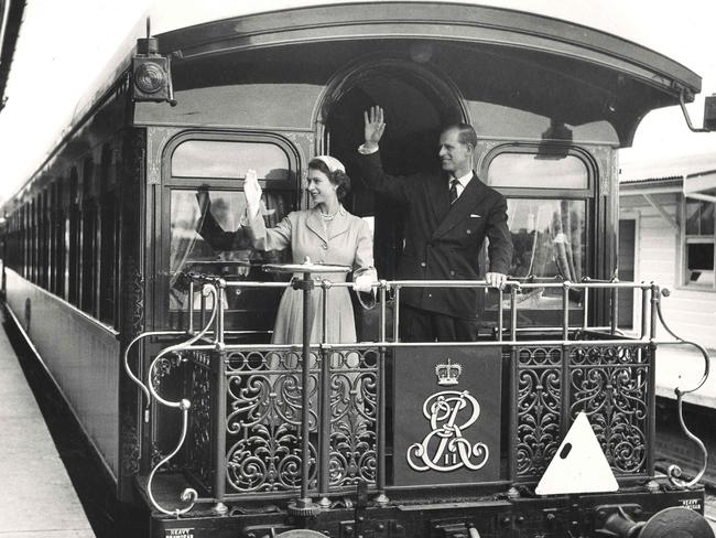 Queen Elizabeth II and Prince Phillip on the royal train at Central Railway Station, Sydney. Picture: NSW State Records