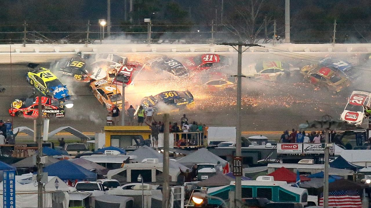 Several car crash during the Daytona 500 with just nine laps remaining.