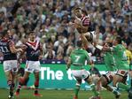 SYDNEY, AUSTRALIA - OCTOBER 06: Daniel Tupou of the Roosters takes a high ball during the 2019 NRL Grand Final match between the Canberra Raiders and the Sydney Roosters at ANZ Stadium on October 06, 2019 in Sydney, Australia. (Photo by Ryan Pierse/Getty Images)