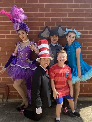 Cast from Adelaide Youth Theatre prepare for Suessical the Musical. From left, they are Paige Tran, Bridget Tran, Henry Tran, Noah Magourilos and Claudia Heys Picture: Adelaide Youth Theatre.
