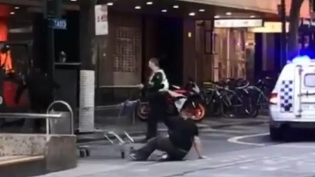 Mr Rogers took a tumble while fighting off the attacker. Source: Twitter