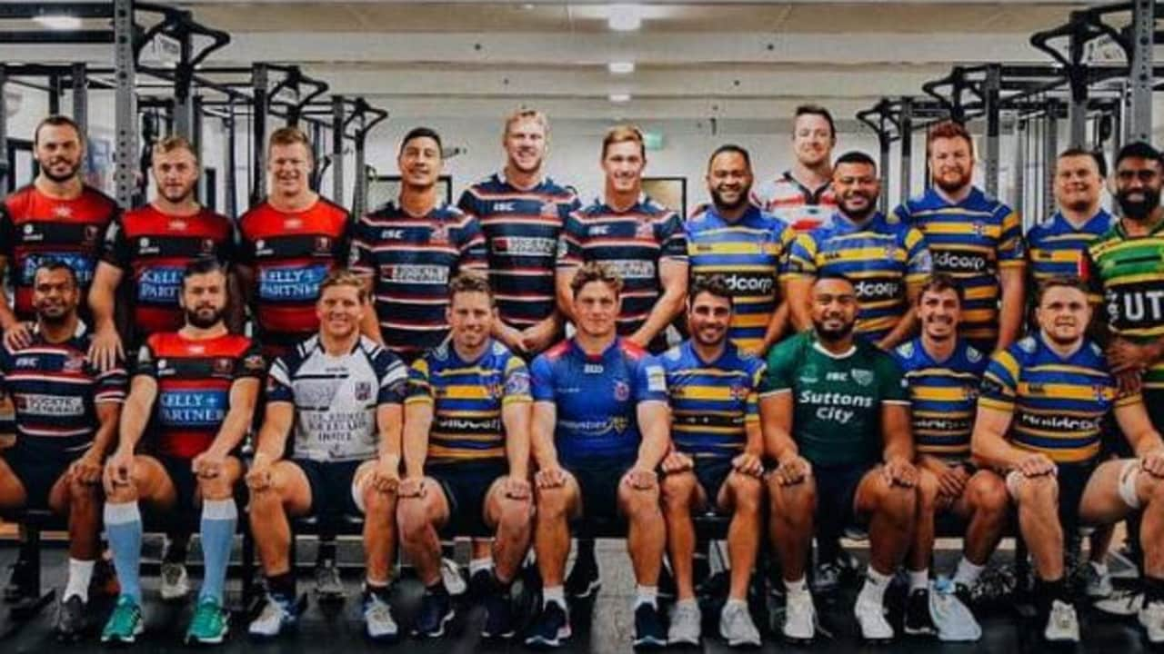 The 2019 Waratahs in their Shute Shield kits.