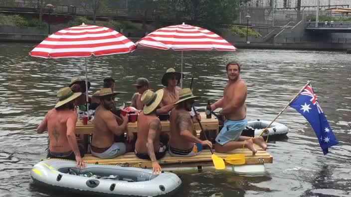 Australia day 2017 inventive group of men float down the yarra lads build floating picnic table for australia day038 watchthetrailerfo