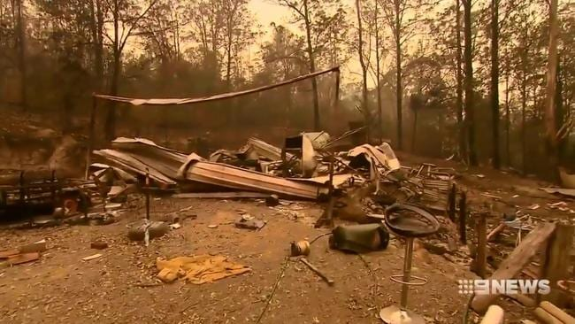 The family found only a few belongings that had survived the blaze. Picture: 9 News