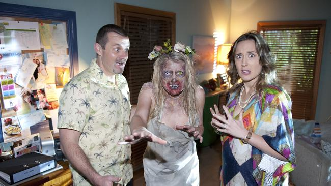 The walking dead ... Ryan Moloney and Eve Morey in the grip of a Zombie invasion.