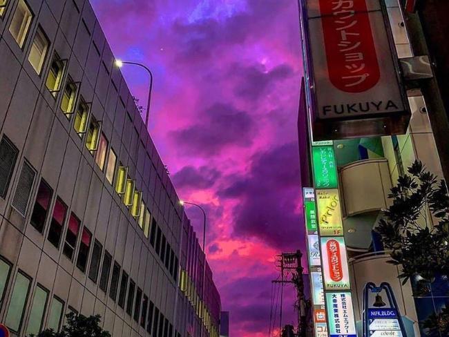 Purple skies over Japan as Typhoon Hagibis closes in.