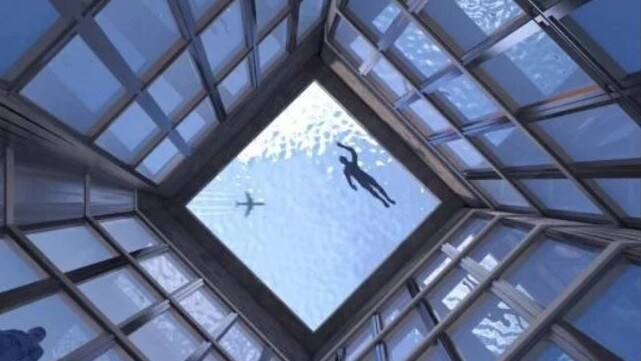 A section of the bottom of the swimming pool would be completely transparent. Picture: Compass Pools