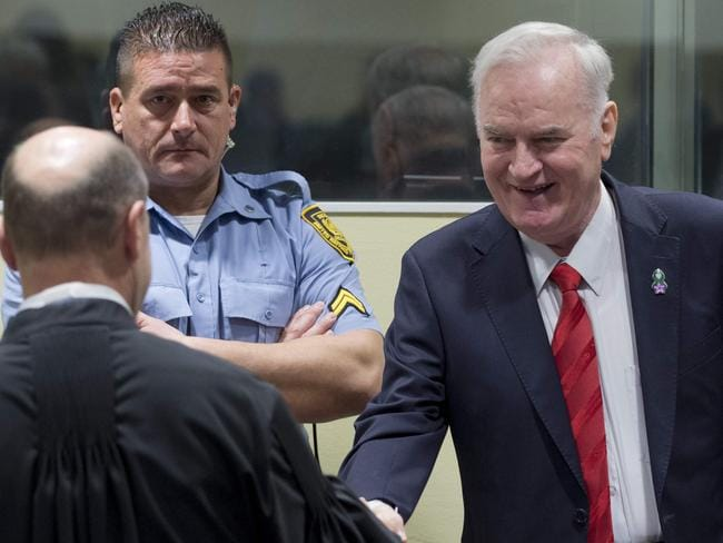 Former Bosnian Serb commander Ratko Mladic enters the International Criminal Tribunal for the former Yugoslavia (ICTY). Picture: AFP/ Peter Dejong