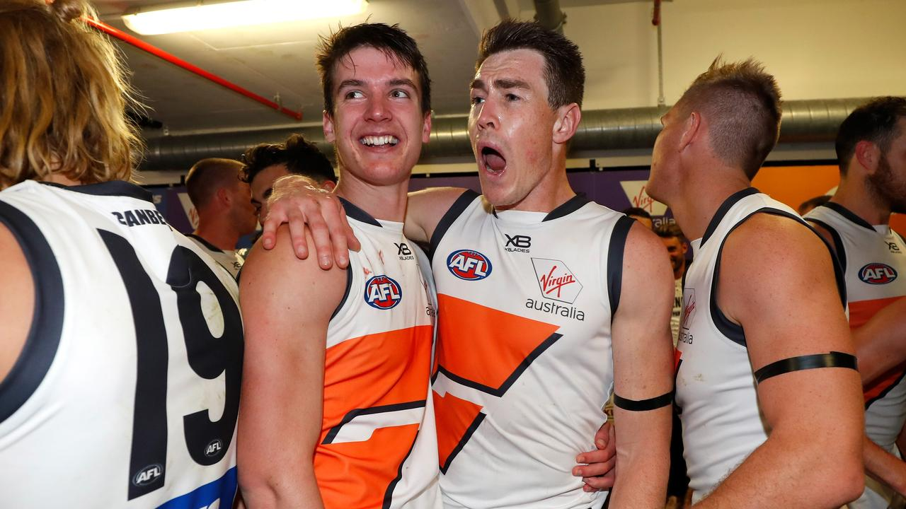 Sam Taylor (left) was a mainstay in the GWS' backline in 2019.