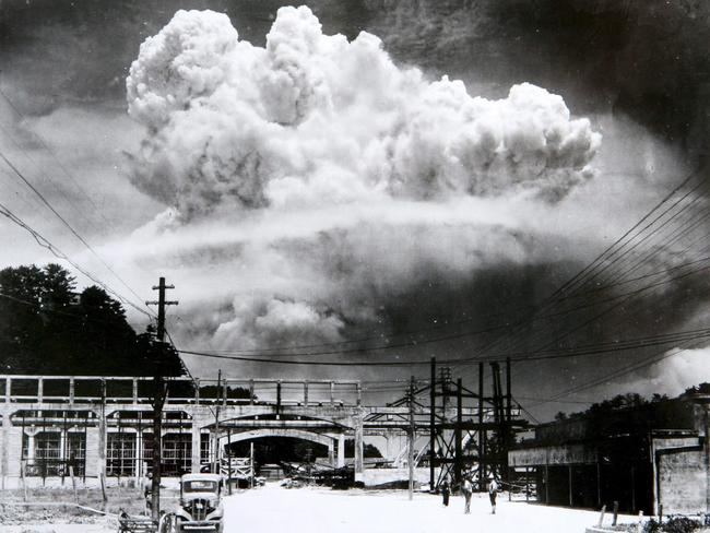 A photo made available by the Nagasaki Atomic Bomb Museum shows a view of the mushroom cloud photographed from the ground of the 09 August 1945 atomic bombing of Nagasaki, Japan. It was the second such bomb America dropped on Japan.